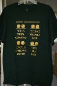 Numbers in three languages (Forest Green shirt), size Large
